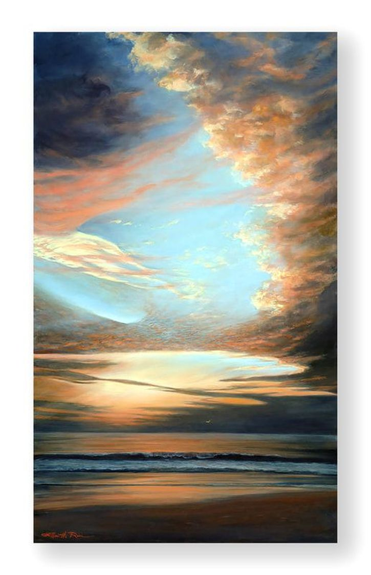 Light overpowers darkness as the heavens open over the Atlantic Ocean in this oil painting, Reawakening